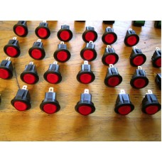 Rocker Switch Round Illum RED